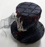 6 x New Halloween Black Mini Witch Hat with Bloody