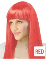 1 x New Womens Bob Style Long Straight Fringe Party Wig- Red