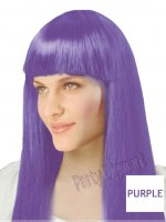 1 x New Womens Bob Style Long Straight Fringe Party Wig- Purple