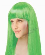 1 x New Womens Bob Style Long Straight Fringe Party Wig- Green