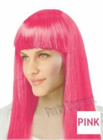 1 x New Womens Bob Style Long Straight Fringe Party Wig- Pink