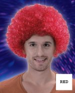 6 x New Popular Mens Ladies Clown Afro Party Wig- Red