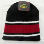 Bulk Lots 12x Black-White-Red Striped Stretchy Knitted Beanie